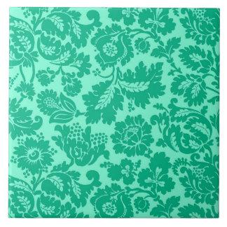 Carreau Damassé, turquoise et Aqua floraux de William