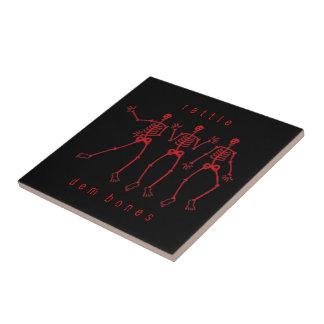 Carreau danse squelettique rouge d'os de DEM de hochet