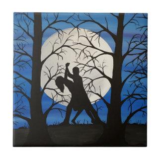 Carreau Danseurs romantiques de silhouette