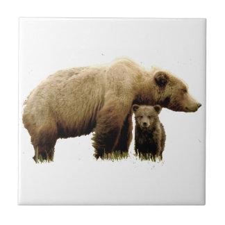 Carreau de céramique avec l'ours gris et l'petit
