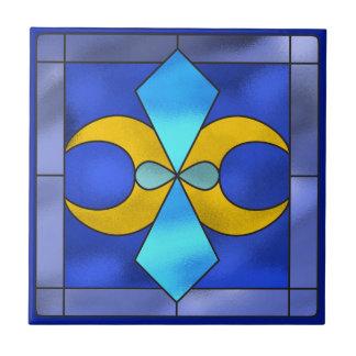 Carreau de céramique bleu de lune géométrique en