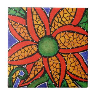 Carreau de céramique d'art coloré lumineux de fleu