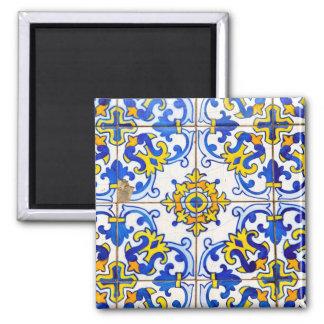 Carreau de céramique d'Azulejos de Portugais Magnet Carré