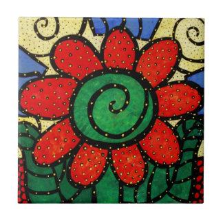 Carreau de céramique de fleur rouge