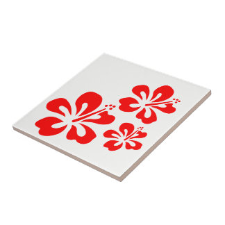 Carreau de céramique de thème rouge de Ribiscus
