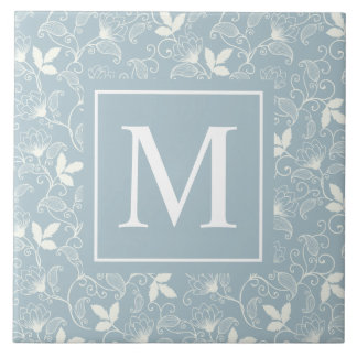 Carreau de céramique floral élégant du monogramme