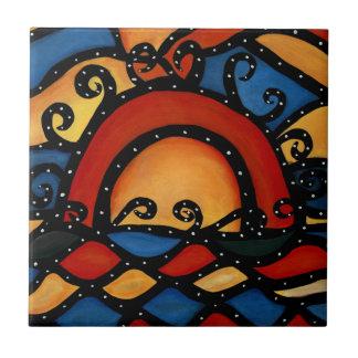 Carreau de céramique lumineux de coucher du soleil