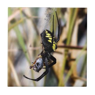 Carreau de céramique noir et jaune d'araignée de