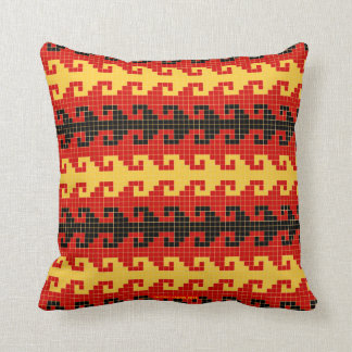 Carreau de crochet - rouge noir jaune - carré coussin