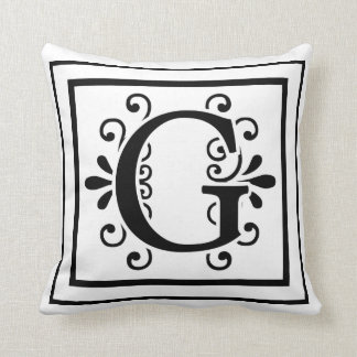 Carreau de monogramme de la lettre G Oreiller