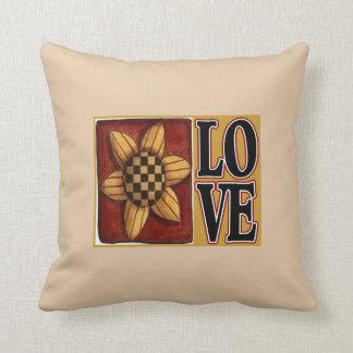 Carreau de pays d'amour de tournesol coussin décoratif
