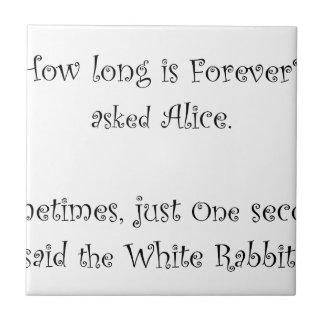 Carreau De quelle longueur est pour toujours Alice