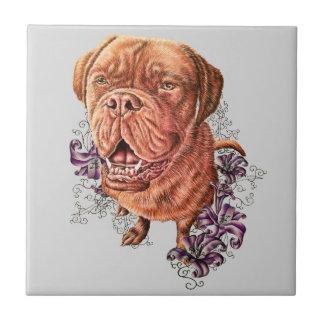 Carreau Dessin d'art et de lis de chien de mastiff de