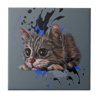 Carreau Dessin de chaton comme chat avec l'art de peinture