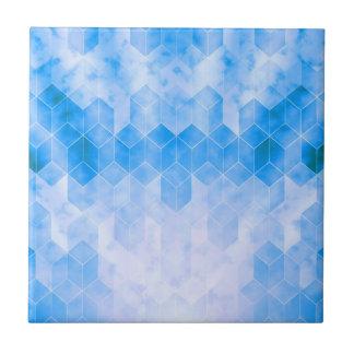 Carreau Dessin géométrique de cube bleu