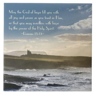 Carreau Dieu d'espoir, vers de bible de 15h13 de Romains,