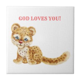 Carreau Dieu vous aime bébé sauvage de guépard de jungle