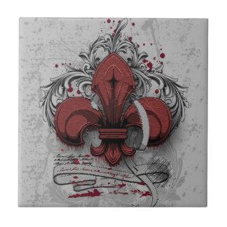 Carreau Effets rouges de grunge en métal de fleur-De-lis d