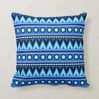 Carreau élégant aztèque noir et blanc bleu oreillers