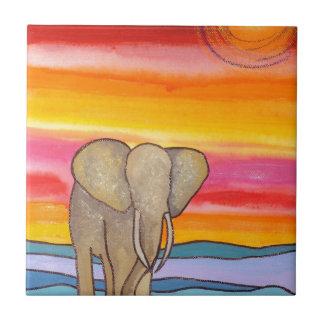 Carreau Éléphant au coucher du soleil en Afrique (K.