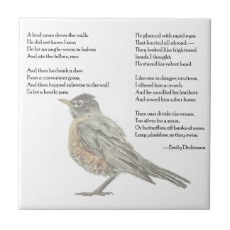 """Carreau Emily Dickinson tuile de poème """"dans jardin"""""""