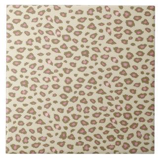 Carreau Empreinte de léopard rose crème