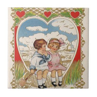 Carreau Enfants victoriens vintages de jour de Valentines