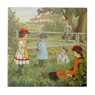 Carreau Été victorien, enfants jouant dans l'herbe