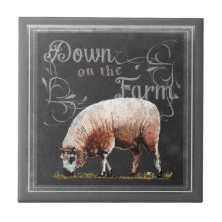 Carreau Ferme | de tableau vers le bas sur les moutons de