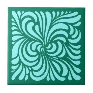 Carreau Feuille, turquoise et Aqua stylisés de Nouveau