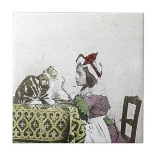 Carreau Fille vintage de mauvais thé victorien de Kitty