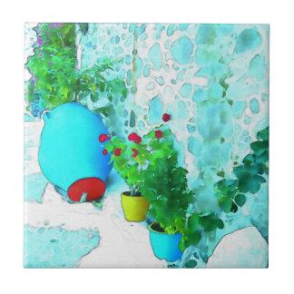 Carreau Fleurs d'aquarelle dans des pots colorés