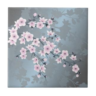 Carreau Fleurs de cerisier bleues grisâtres roses sombres