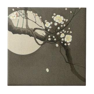 Carreau Fleurs de prune la nuit par le cru d'Ohara Koson