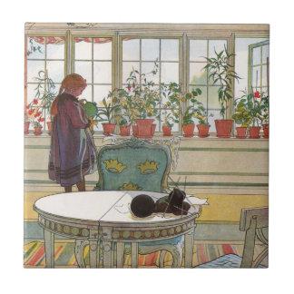Carreau Fleurs sur le rebord de fenêtre par Carl Larsson