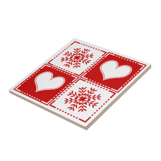 Carreau Flocons de neige élégants et coeurs rouges et