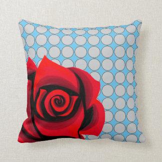Carreau floral de motif de pois de rose rouge coussins carrés