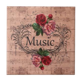 Carreau Floral vintage pour l'amour de la musique