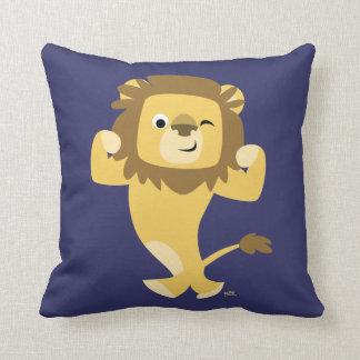 Carreau fort mignon de lion de bande dessinée coussin décoratif