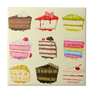 Carreau Gâteau d'anniversaire mignon de gâteau avec de la