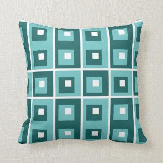 Carreau géométrique blanc turquoise bleu de motif oreillers