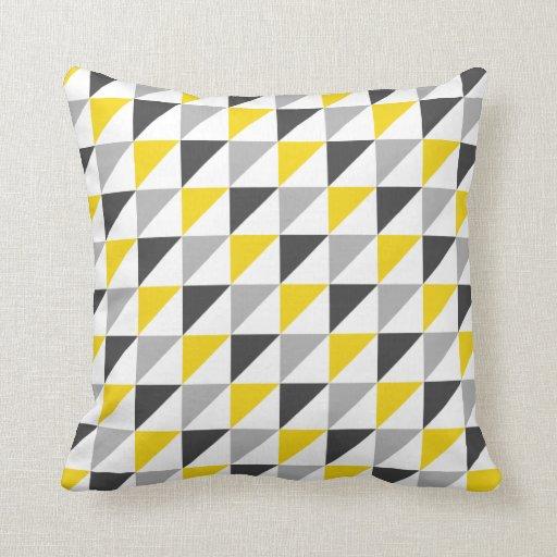 Carreau géométrique jaune et gris oreillers