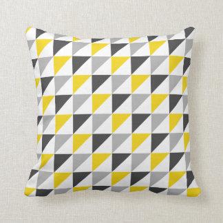 Carreau géométrique jaune et gris coussin décoratif