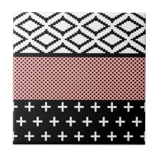 Carreau Géométrique moderne rose, blanc, et noir élégant