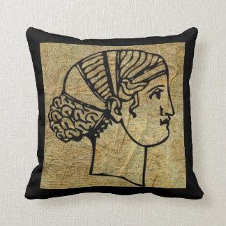 Carreau grec Grec antique antique de femme Coussin