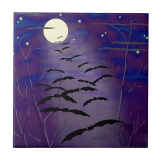 Carreau Heure enchantante avec la pleines lune et battes