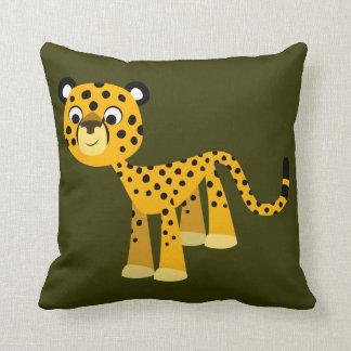 Carreau heureux mignon de guépard de bande dessiné oreillers