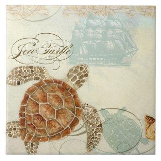 Carreau Hippocampe de tortue de collage de bord de la mer