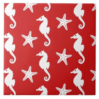 Carreau Hippocampe et étoiles de mer - rouge de corail et