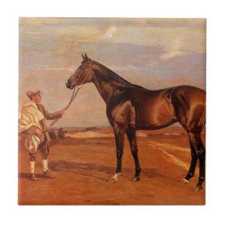 Carreau Homme vintage avec le cheval de course de Brown